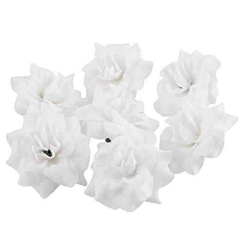 50 stks kunstmatige rozenkoppen nep bloemen hoofd kunstbloemen geschenkdoos voor bruiloft partij verjaardag thuis diy decor(Wit)