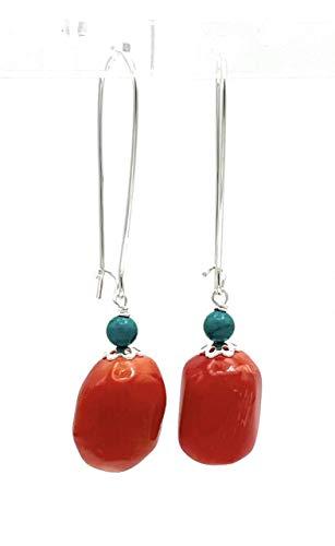 Pendientes de plata 925 coral naranja y turquesa natural, pendientes colgantes largos, joyas artesanales, estilo moderno, regalo para ella