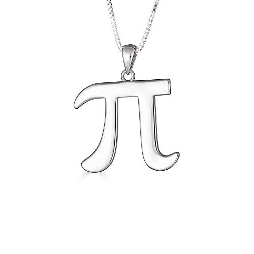 Mis Tesoritos 925 Solid Collar Colgante Plata de Ley 925 Símbolo Matemático Pi (Longitud de Cadena Disponible 40cm - 45cm - 50cm - 55cm)
