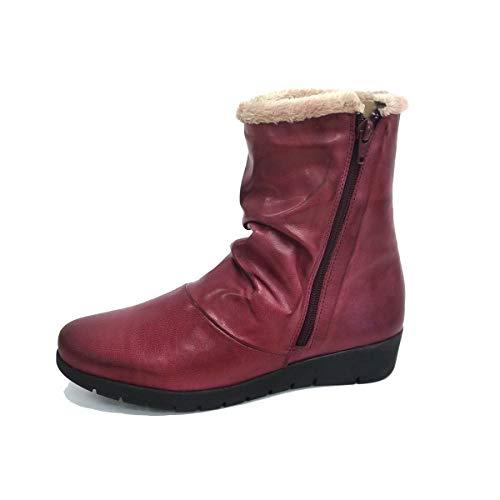 ANDARES Boots mit gekräuseltem Haar, Rot - burgunderrot - Größe: 41 EU