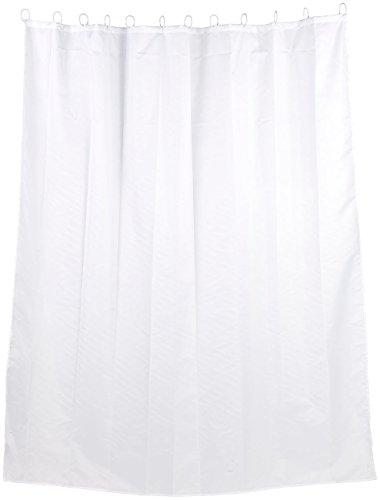 BadeStern Badevorhang: Textil Anti-Schimmel-Duschvorhang weiß, 180 x 200 cm, 12 Ringe (Dusch Vorhang)