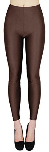 dy_mode Glanz Leggings Damen Bunte Tanz Leggings glänzende Leggins Shiny One Size - JL116 (One Size - geeignet für Gr.36-38, JL116-Schoko)