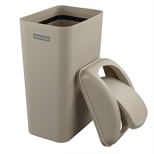 Ponpong 14 L Color Caqui Basura Reciclaje Papelera Cubo de Basura de Cocina Tapa Basculante, Plastico, 1 Unidad
