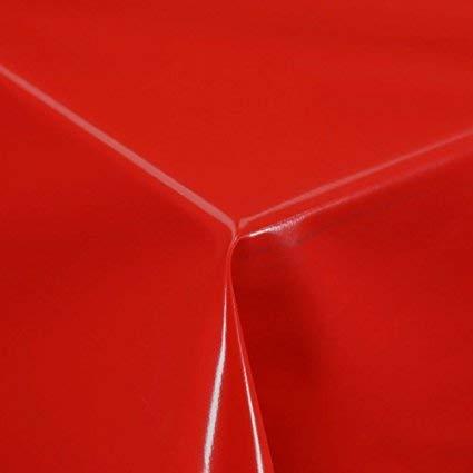 2 metres (200 cm x 137 cm) Nappe en vinyle, Rouge uni pour s'adapter au jusqu'à une Taille 6 places avec table rectangulaire, facile à nettoyer, Envers textile (265)
