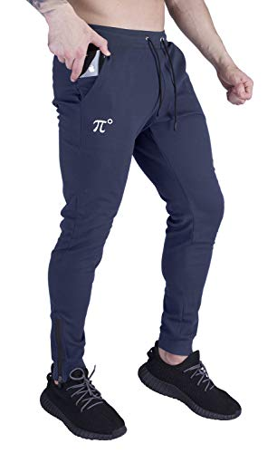 PIDOGYM Men's Slim Jogger Pants,Tapered Sweatpants for Training, Running,Workout with Elastic Bottom and Zipper Pockets,Navy Blue,Large