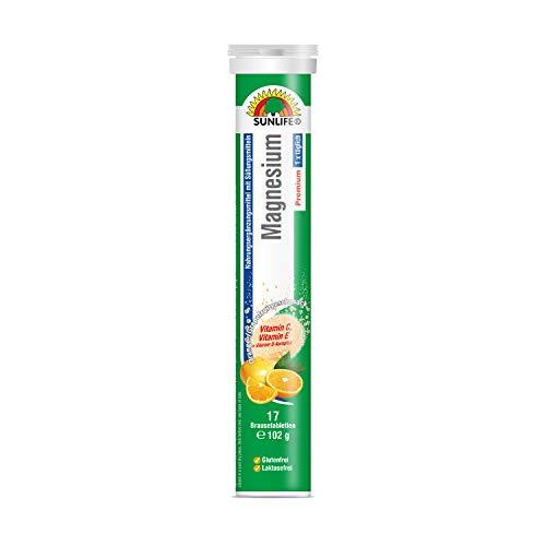 SUNLIFE Magnesium + B-Komplex+ Vitamin C und E - Hochdosiert: Für Muskeln und Nerven, Orange-Grapefruitgeschmack 17 Brausetabletten