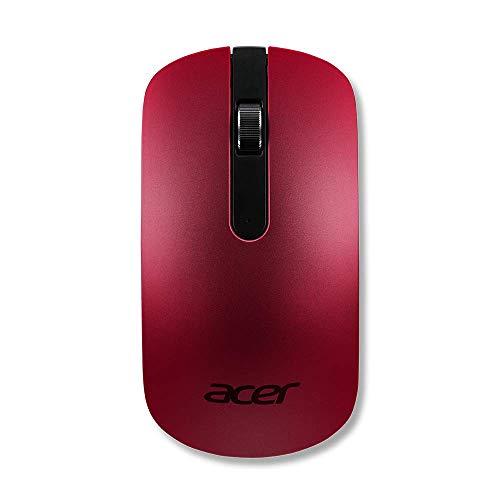 AcerWireless Maus (Thin & Light, kabellos, optisch, 1.200 dpi, elegantes Slim Design) rot