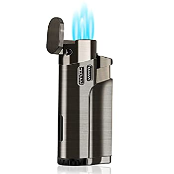 Torch Lighter Refillable Fuel Butane Torch Lighters 4 Jet Lighter with Punch Quad Flame Lighter Gas Torch Butane Lighters-Butane NOT Included  Black