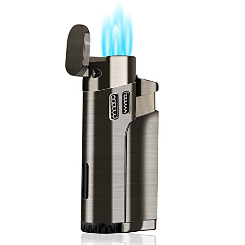 Torch Lighter Refillable Fuel Butane Torch Lighters 4 Jet Lighter with Punch Quad Flame Lighter Gas Torch Butane Lighters-Butane NOT Included (Black)