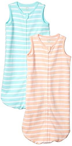 Amazon Essentials 2-Pack Cotton Baby Sleep Sack Infant-and-Toddler-Sleepers, Naranja (Orange Stripe), 0-6 Meses