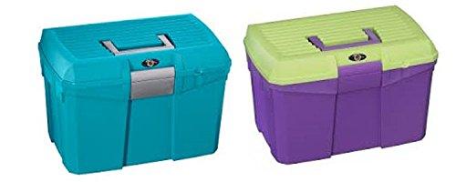 Lincoln Tack Box – Édition limitée – Medium – cette Boîte est adapté pour tous les besoins d'équitation – Comprend une Huile pour sabot support pour brosse et peut être SAT ou se poser sur, Turquoise
