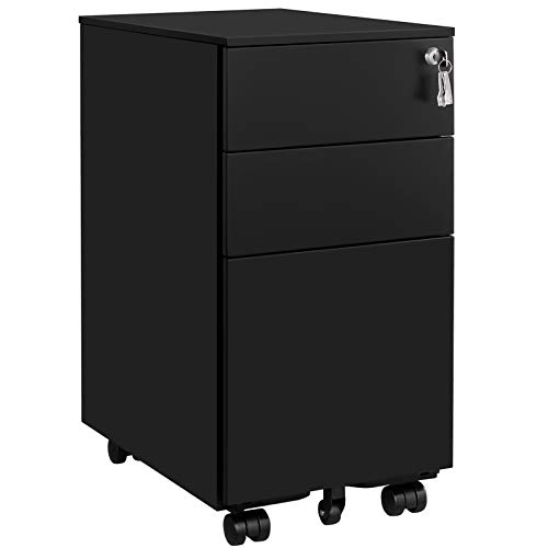 SONGMICS 3 Drawers Rolling Office Cabinet, Small file cabinet with Lock, Black UOFC031B01