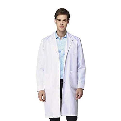 Bata de Laboratorio médico Abrigo Abrigo de Hombre, Chaqueta Blanco para Damas, Adecuado para Estudiantes de la Escuela Laboratorio de Ciencia Enfermera Cosplay Vestido de algodón vpass