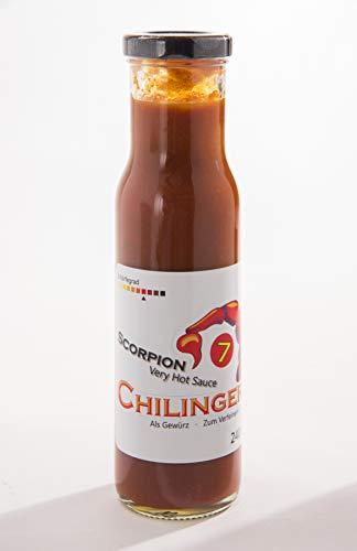 Chilinger Scorpion 7 - Chili Sauce - Very Hot Sauce - Super Fruchtig mit Tomate, Süß mit Honig, Extrem scharf mit frisch verarbeiteten Trinidad Scorpion Chillies - 240 ml