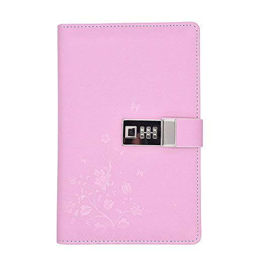 JunShop Lock Diary Combination Locking Journal Writing Notebook A5 Planner Agenda Personal Notepad Pink
