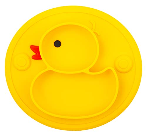 Silicone Divided Toddler Plates, Portable Non Slip Suction Plates for Children Babies and Kids BPA Free Baby Dinner Plate (Duck-Yellow)