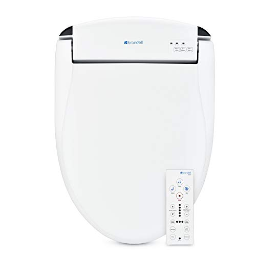 Brondell Swash SE600 Bidet Toilet Seat, Fits Elongated Toilets, White Bidet Oscillating Stainless-Steel Nozzle, Warm Air Dryer, Ambient Nightlight