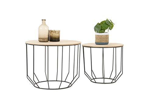 LIFA LIVING 2 Moderne Couchtische rund, 2X Beistelltische mit abnehmbaren Deckel, Industrial Korbtische aus Holz & Metall, Belastbarkeit bis zu 20 kg