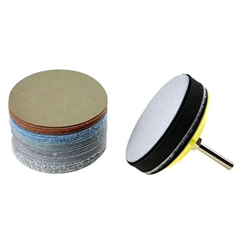 Explopur 30 Piezas 3 Pulgadas Diss de Lijado en húmedo/se accesor de Amoladora de eliminación de Pintura de óxido Papel de Lija n Almohadilla de Lijado de vástago y Almohadilla de amortiguación de