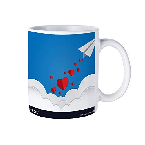 happygoluck1y Valentijnsdag harten vallen uit papier vliegtuig novelty koffie mok, Valentijnsdag mok, grappige mokken voor vrouwen, meisjes, vrouw, 11 Oz