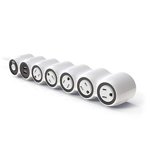 360 Electrical 360529 PowerCurve 3.4A Surge Protector Power Strip with 5 Rotating Outlets, 2 USB Ports, 3.4A/17W USB Power, 6ft Power Cord and 1080 Joules Surge Protection Designed to Fit Large Plugs