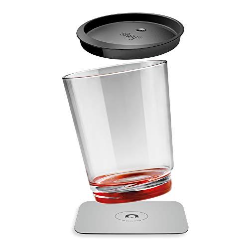 silwy Magnetic drinkware, Bicchiere Magnetico di plastica Antiscivolo, infrangibili con Magnete Integrato con Coperchio e sottobicchieri Metallici, Campeggio, Barca, Bambini - Ready Red