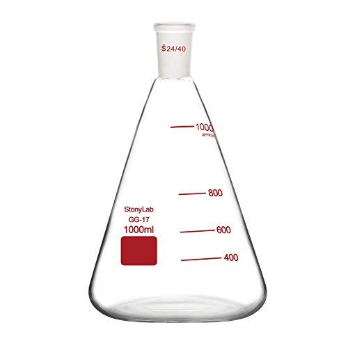 stonylab Matraz Erlenmeyer de Cristal 24/40, Erlenmeyer Flask Frasco de Laboratorio de Pared Gruesa de Vidrio de Borosilicato con Junta Exterior Cónica Estándar 24/40-1L