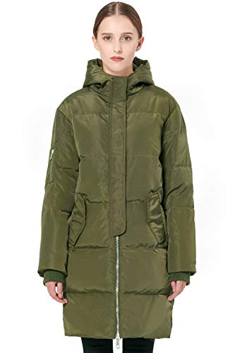 Orolay Women's Thicken Plus Size Down Jacket Hooded Coat ArmyGreen S
