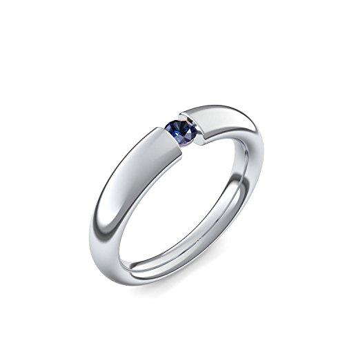Spannringe Platin Ring Saphir 950 + inkl. Luxusetui + Saphir Ring Platin Saphirring Platin (Platin 950) - Tension Amoonic Schmuck Größe 48 (15.3) AM25 PL950SAFA48