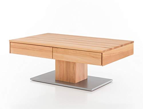 expendio Couchtisch Arne Kernbuche geölt 110x75x44 cm Sofatisch Massivholztisch Säulentisch Wohnzimmertisch Beistelltisch Wohnzimmer