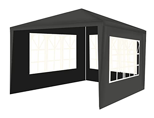 MT MALATEC Pavillon 3x3m 3 Seitenteile Festzelt Gartenpavillon Partyzelt 12840, Farbe:Grau-Grey