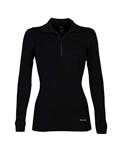 Dilling Damen Langarmshirt mit Reißverschluss - aus 100% Bio-Merinowolle Schwarz 38