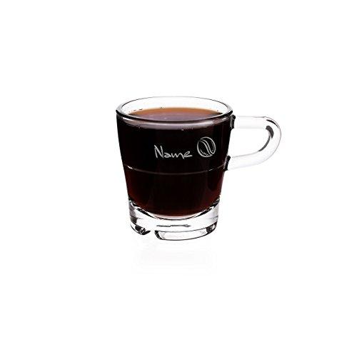 Leonardo Espressotasse aus Glas - Kaffeebohne - mit Gravur Ihres Wunschnamens