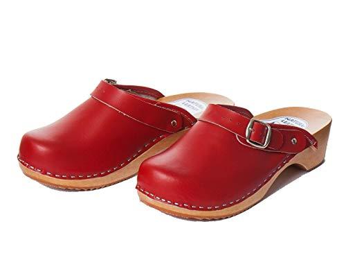 Zoccoli da Donna in Pelle, Fatti a Mano, Suola in Legno, Colore Rosso, Scarpe da Donna con Cinturino, Rosso (Red), 36.5 EU