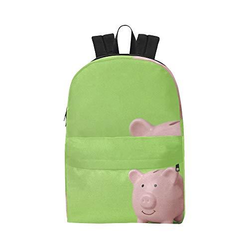 Rosa Schwein Sparschwein Geld Classic Cute Waterproof Laptop Daypack Taschen Schule College Kausal Rucksäcke Rucksäcke Bookbag für Kinder Frauen und Männer Reisen mit Reißverschluss und Innentasche