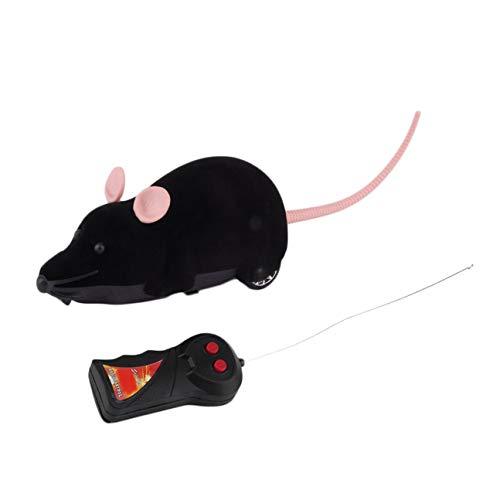 MachinYeser Control Remoto inalámbrico Ratón Simulación de plástico Animales Rata electrónica Divertido Movimiento Ratones Juguete Mascota Gato Juguete (Color: Negro)