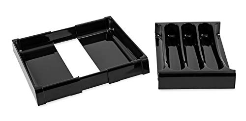 Camco 43504 RV Adjustable Cutlery Tray, Black - Easily Organize and Store Your Kitchen Flatware  - Create a Custom Fit to Your Drawer