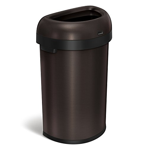 simplehuman 60 Liter / 15.9 Gallon Commercial Heavy-Gauge Stainless Steel Large Semi-Round Open Trash Can, Dark Bronze Stainless Steel