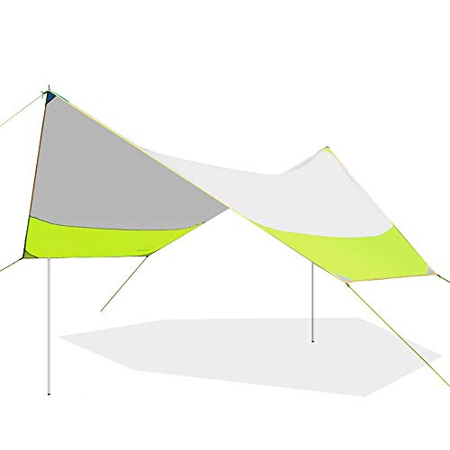 QLJJ Camping Tent Tarp Shelter Outdoor Canopy Tent Beach Camping Canopy Pergola Oversized Folding Rainproof Balcony Awning Canopy for Camping Outdoor (Color : Green, Size : 465x400x250cm)