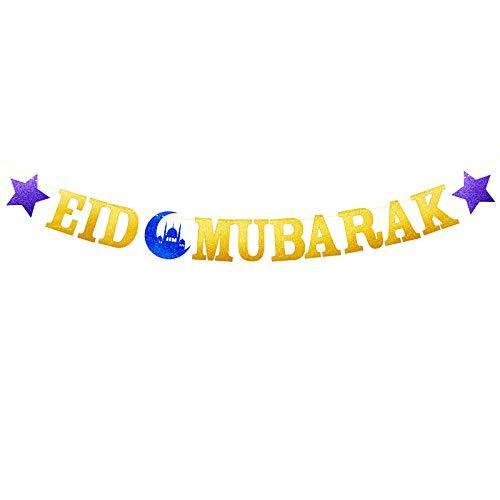 Eid Mubarak Letter Banner Garland with Star and Moon Muslim Ramadan Party Supplies Decorations, Blue Eid Celebration DIY Décor for Muslim (Gold)