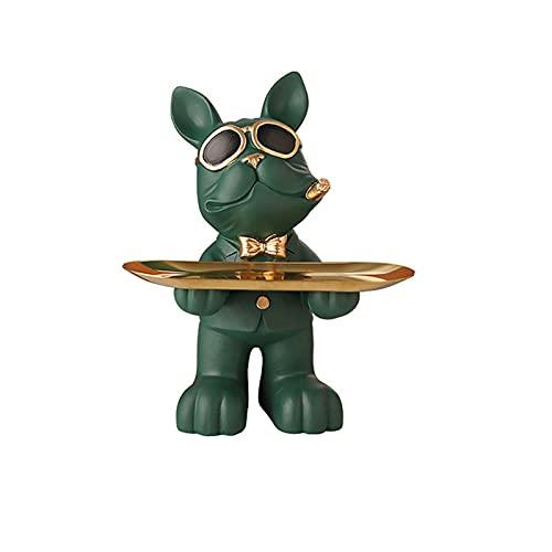 surfsexy Soporte organizador de joyas, bandeja de almacenamiento de Bulldog, adorno de resina animal escultura clave joyería titular hogar sala entrada escritorio decoración
