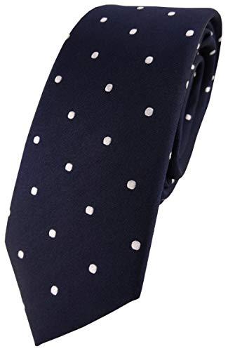 TigerTie - corbata de seda estrecha - azul marina azul oscuro blanco lunares