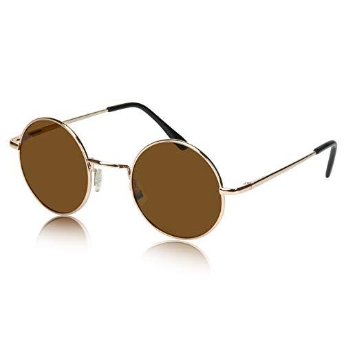 John Lennon Sunglasses 70s Accessories Circle Lens Hippie Glasses 60s Boho Brown