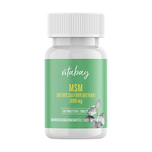 Vitabay MSM 1000 mg • 60 vegane Tabletten • 100{03e625172371d63c090d0c829a8afc56ca5c1a257563f631f6f0e75ad3c4daff} reines Methylsulfonylmethan • Hochdosiert • Meshfaktor 80