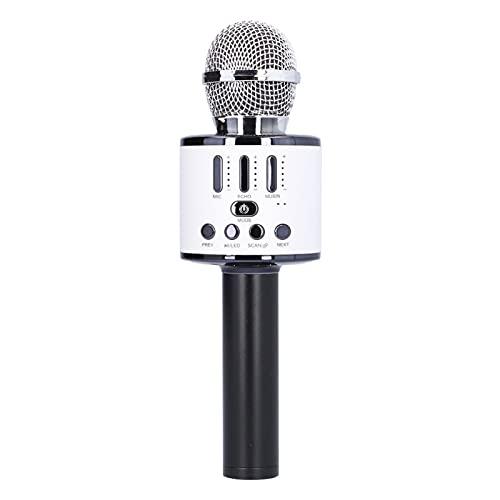 Micrófono, Karaoke Micrófono Inalámbrico Módulo Bluetooth Incorporado Micrófono de Recarga USB Batería Incorporada Micrófono de Enchufe de 3,5 mm para Android/para IOS, Tabletas