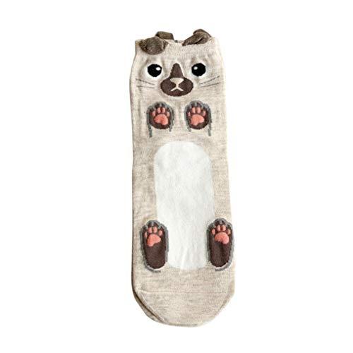Las Mujeres De Animados Animal Calcetines Dibujos Zoo Hombres Mode De Marca Calcetines De Barco De Algodón De Algodón Cálido Edredón Calcetines Calcetín Invisible ( Color : Beige , Size : One Size )
