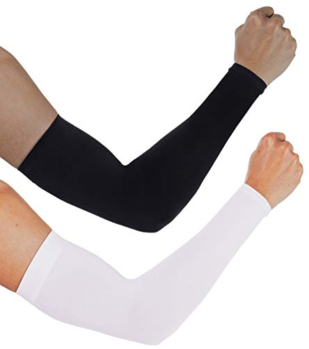 aegend Sun Protection Cooling Arm Sleeves - UPF 50 Sun Sleeves - for Men & Women for Cycling, Running, Basketball, Football, Golf, Volleyball, Driving, Black & White 2 Pairs
