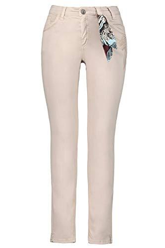 GINA LAURA Damen Größen, Hose mit Stickerei und Tuch, Mauve, 38