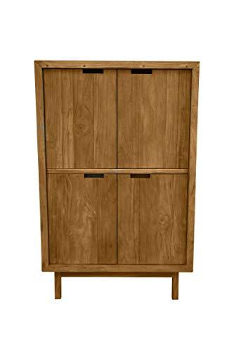 Sit Möbel Sanur Highboard Teak B 96 x T 45 x H 150 cm natur 4 Türen hinter den unteren Türen je 1 Schublade