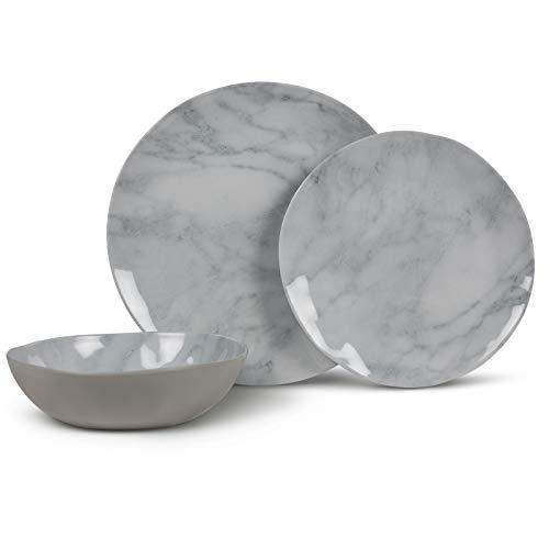 Melamin Geschirrset für 4 Personen Elegante Marmor Optik in weiß grau - 12 teilig - Campinggeschirr - stabil - Kratzfest - bruchsicher - leicht abwaschbar - spülmaschinengeeignet - Teller - Schüssel